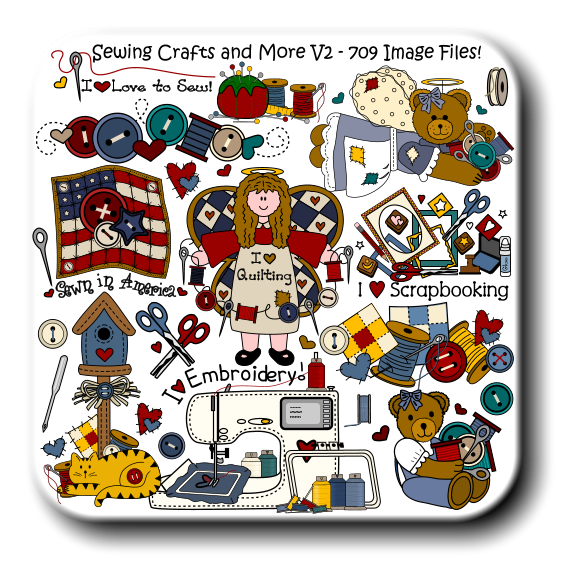 I   Love to Sew! I     Scrapbooking Glue Sewing Crafts and More V2 - 709 Image Files!